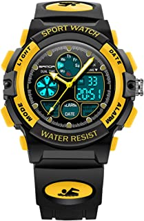 Kids Multifunction Great Helper Study Watches Dual Time Yellow for Ages 7-10