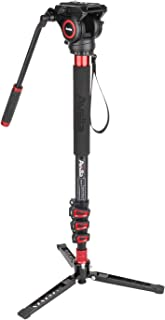 Avella AD324 Aluminum Video Monopod Kit, with Fluid Head and Removable feet, 71 Inch Max Load 13.2 LB for DSLR and Video Cameras
