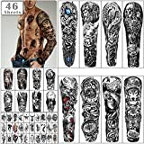 46 sheets Full Arm Skull Temporary Tattoos For Men Half Arm Shoulder Angel Tattoo for Ladies Fake Waterproof Wolf Lion Stone Tattoo Stickers For Adult or Kids