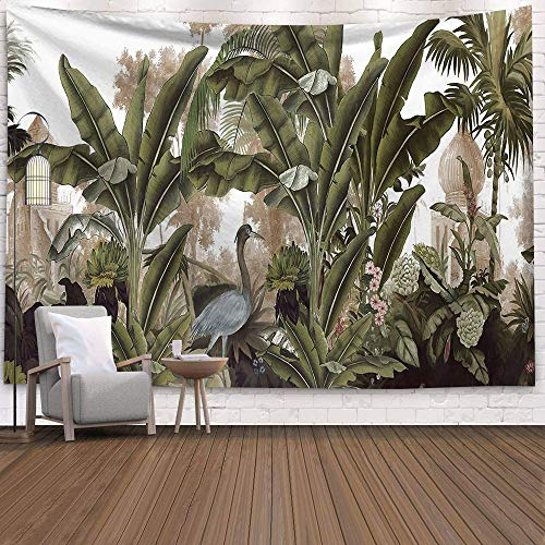 KHKJ Palm Tree Tapestry Wall Hanging Tropical Leaves Flowers Pattern Tapestries large Background Ceiling Wall Cloth Carpet A7 95x73cm