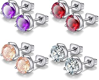 18K Gold Plated Stainless Steel Brilliant Cut Round CZ Stud Earrings Set
