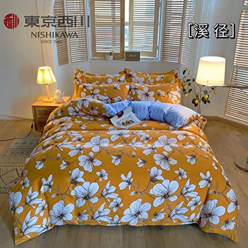 juego de fundas de edredón y de almohada de microfibra-Juego de regalo lavable de cuatro piezas de la funda de almohada de la funda nórdica de la sábana cepillada gruesa-GRAMO_Cama de 1,8 m (4 piezas