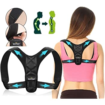 SOMAZ Posture Corrector, Adjustable Upper Back Brace For Clavicle Support and Providing Pain Relief From Neck, Back and Shoulder. Comfortable Posture Trainer for Spinal Alignment. Size (L-XL)…