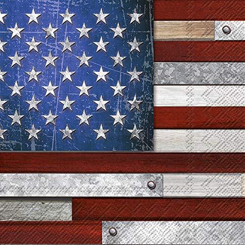 Cocktail-Servietten, Motiv: amerikanische Flagge, 20 Stück, 3-lagig, Papierservietten, Vintage-Americana