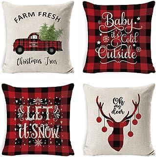 Throw Pillow Covers Thanksgiving Christmas Decoration Sofa Linen Pillow Case Winter Home Decor Gifts Autumn Deer Snowflake...