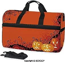 Travel Duffel Bag Three Halloween Pumpkins Abstract Black Personalized choice