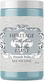 Heritage Collection All in One Chalk Style Paint, Color: French Toile (Blue) 32oz Quart