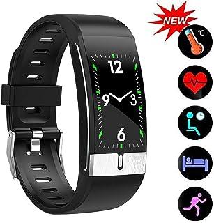 YUN Clock@ Reloj Inteligente Fitness Tracker Medición Termómetro Pulsera De Actividad Inteligente Impermeable Ip67 Reloj Deportivo con GPS Podómetro Pulsómetro para Hombre Mujer Niños