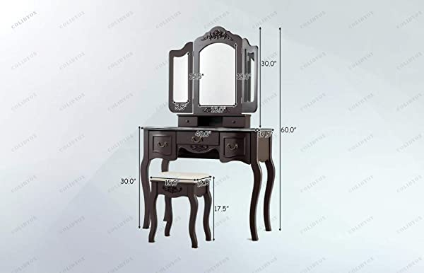 COLIBROX Tri Folding Vintage Vanity Makeup Dressing Table This Vanity Beauty Station Is Definitely Your Ideal Option Mesmerizing Beauty And Stylish Design Meet To Bring You One Of The Most Gorgeous