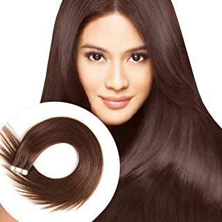 Tape in Human Hair Extensions 16 inches 20pcs 40g Silky Straight Remy Tape in Extensions Color 4 Medium Brown