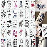 60 hojas 3D mariposa tatuajes temporales arte corporal pegatina flor letras dibujos animados perro tatuajes falsos tatuaje infinito para mujeres, niños SETITattoo