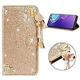 Miagon Hülle Glitzer für Samsung Galaxy Note 10 Plus,Luxus Diamant Strass Herz PU Leder Handyhülle Ständer Funktion Schutzhülle Brieftasche Cover,Gold