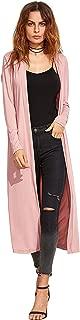 Women's Long Sleeve Open Front Long Maxi Cardigan Longline Duster Coat