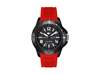 Lacoste 2010737 Silicone Contrast Bezel Round Analog Watch for Men - Red