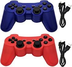 Tidoom PS3 Controller Wireless Double Shock Gamepad Support Playstation 3 Bluetooth Controller Sixaxis Wireless PS3 Controller with Charger Cable 2 Pack (Blue & Red)