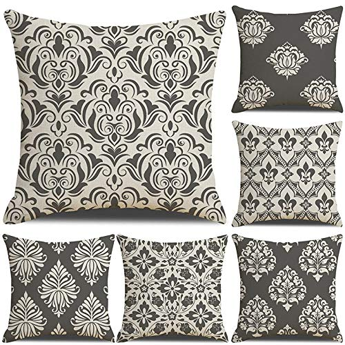 XCQ Linen Throw Cushion Pillow Covers Square Pillowcase Grey Pattern Decorative for Sofas Chairs Cushion Cover Set of 6, 45X45cm