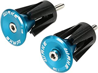 Bar End Plugs Wake Handlebar End Caps Bike HandleBar Plugs for Most Bicycle, Mountain Bike, Road Bike, MTB, BMX (2 Counts, Rubber Sponge Aluminum, Black/Red/Gold/Blue/Gray)