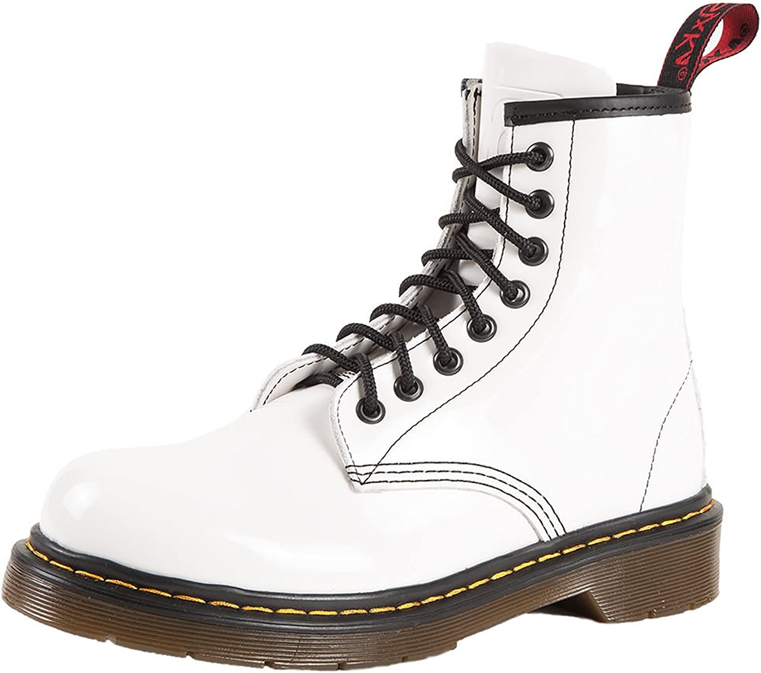 SK7 Women's Hot Stylish Coventry Gloss Leather Fashion Ankle Boots Snow White - 9.5