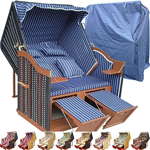 XINRO® Strandkorb Usedom günstig kaufen für Garten u. Balkon inkl Strandkorbhülle - blau mit schwarzem Polyrattan und braunem Holz, Form Ostsee Strandkorb