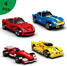 Wild&Field Mini Building Blocks Sets,Building Blocks Car Toys, Set of 4 Race Car Building Kits for Kids Prizes Toys, Goodie Bag Stuffers, Party Favors