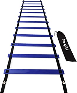 Yes4All Ultimate Agility Ladder – Speed Agility Training Ladder with Multi-Choice: 8, 12, 20 rungs Yelow & Blue - Included Carry Bag