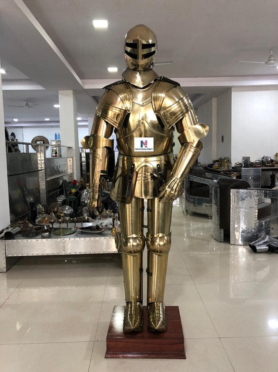 Nautical-Mart Brass Full Suit of Atlanta Max 71% OFF Mall Knight Armor LARP Hallowe