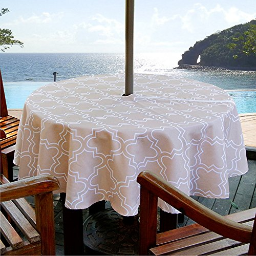 ColorBird Elegant Moroccan Outdoor Tablecloth Waterproof Spillproof Polyester Fabric Table Cover with Zipper Umbrella Hole for Patio Garden Tabletop Decor (60' Round, Zippered, Khaki)