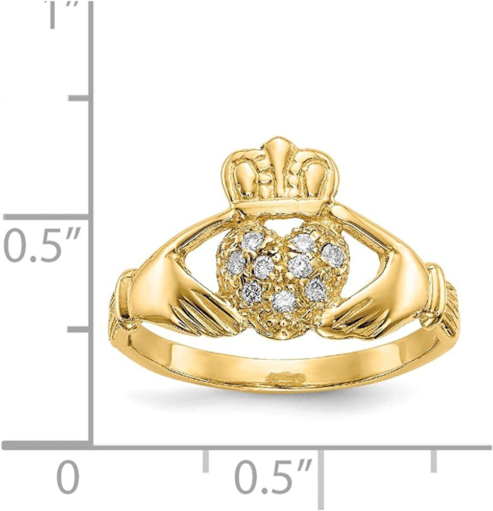 Solid 14k Yellow Gold Celtic Irish Claddagh Ring Band with CZ Cubic Zirconia (Width = 7mm)