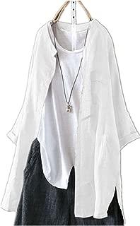 TT WARE S-5Xl Women Long Sleeve Button Down Cotton Asymmetric Vintage Blouse-White-8