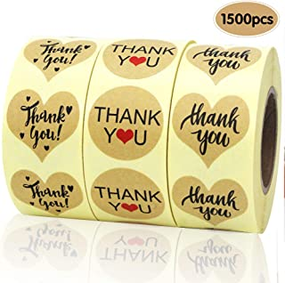 EOOUT 1500pcs Heart Shape Thank You Stickers, Kraft Paper Thank You Adhesive Labels, Heart and Round, 3 Patterns