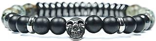 Skulls and Spirits - Convoy Turquesa - Pulsera con cranio de acciaio inossidabile y turquesa - Pulsera combinada (hecho en...