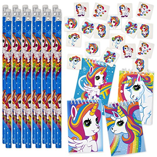 Unicorn Party Supplies Favors includes 144 Unicorn Tattoos 12 Unicorn Pencils 12 Unicorn Notepads for Boys Girls Kids Teens Birthday Supplies