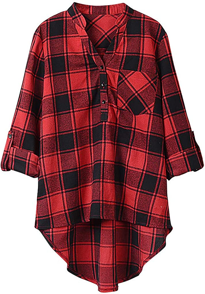 Wocachi Fall Plaid Blouses for Womens, Striped Plaid Button Down High Neck Blouse Business Work Long Sleeve Shirts