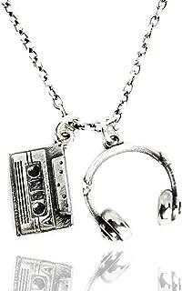 ViMon gioielli, COLLANA argento vero 925,ciondoli pendenti cuffie dj, cassetta musicale.Stile pop rap rock. Lunghezza cate...