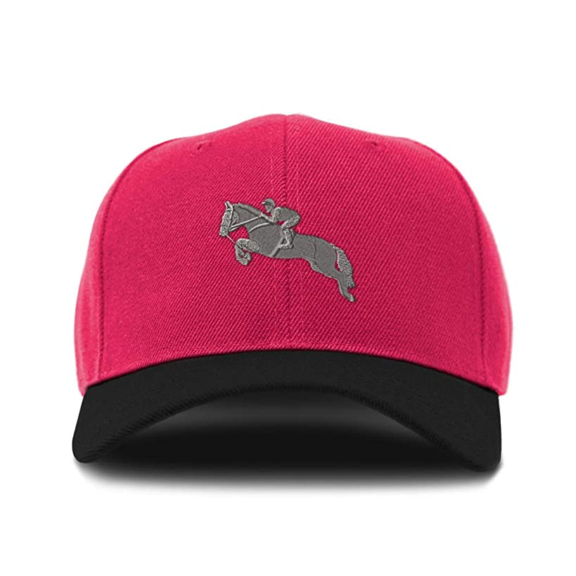 Custom Bi Color Baseball Cap Jumper Horse Embroidery Design Acrylic