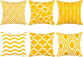 Best Top Finel Decorative Throw Pillow Covers for Couch Bed Durable Canvas Outdoor Cushion Covers 16 x 16 Inch 40 x 40 cm, Pack of 6, Yellow Review