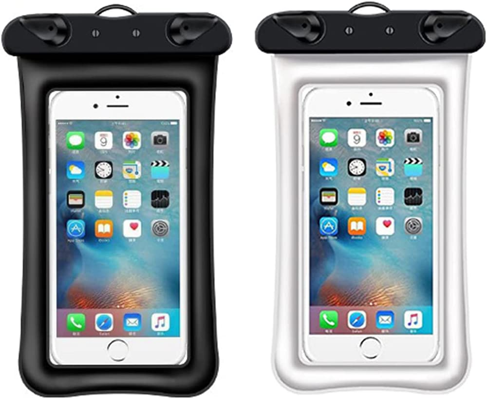 2Pcs Mobile Waterproof Bags,Mobile Waterproof Bags,Cellphone Dry Bag Case Compatible with iPhone 12/11 Pro Max/Pro/8 Plus, Galaxy S21/S20/S10/Note 20/10/9, Plus Phones up to 6.8.(Black Plus White)