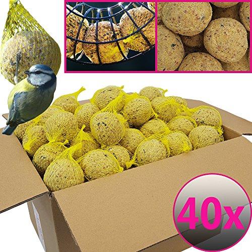 Bolas de grasa para pájaros - 40 bolas = 3,6 kg - Alimento natural con gran aporte energético para aves silvestres - Bolas de grasa con red individual para colgar