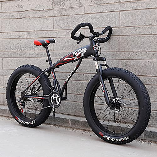 DANYCU Mountain Bike 26 Inch 27/30 Speed Bicycle Fat Tire Snow Anti-Slip Bikes Professional Shock-absorbing MTB Outdoors Sport Cycling,E,7 speed
