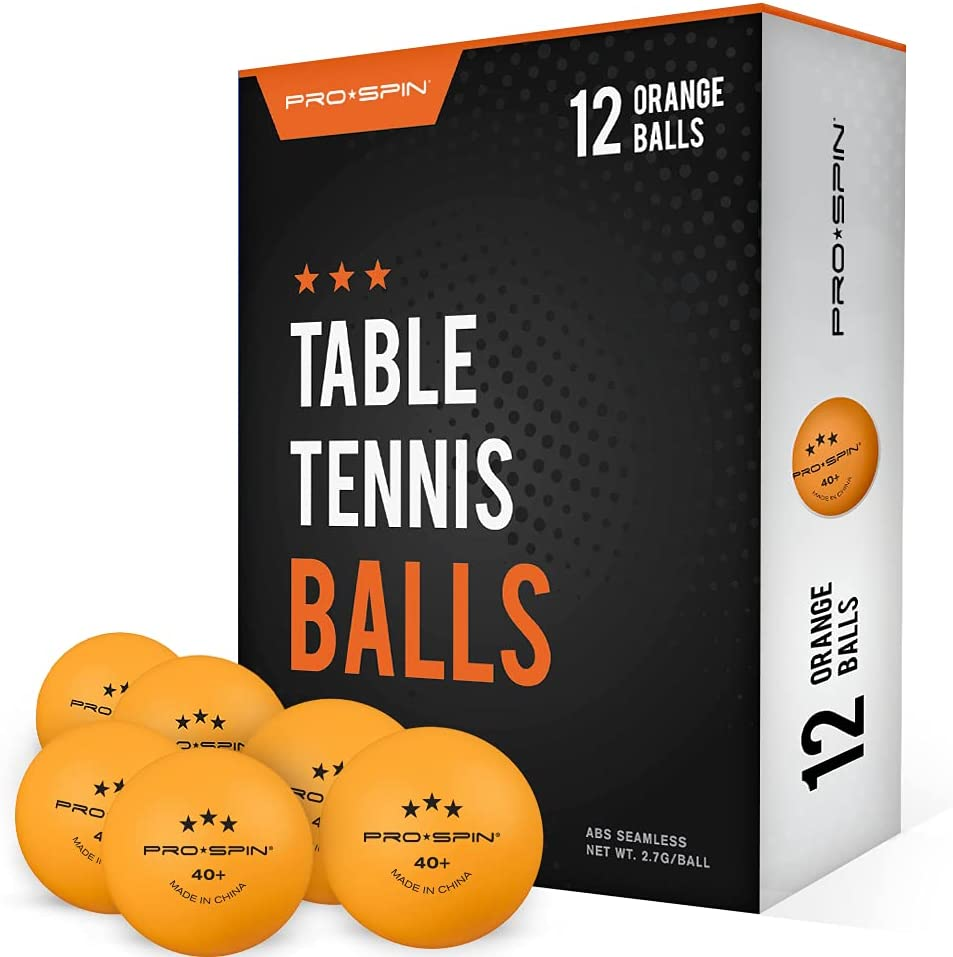 PRO SPIN Ping Pong Balls - Orange 3-Star 40+ Table Tennis Balls (Pack of 12, 24)   High-Performance ABS Training Balls   Ultimate Durability for Indoor / Outdoor Ping Pong Tables, Competitions,Games