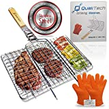 Qualitech 430 Stainless Steel Non Stick Folding BBQ Barbecue Portable Grill Grilling Basket with Removable Handle and Gloves Perfect for Fish Steak Meat Vegetables