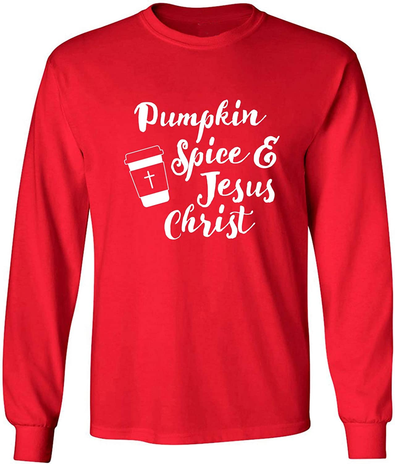 Pumpkin Spice & Jesus Christ Adult Long Sleeve T-Shirt in Red - XXXX-Large