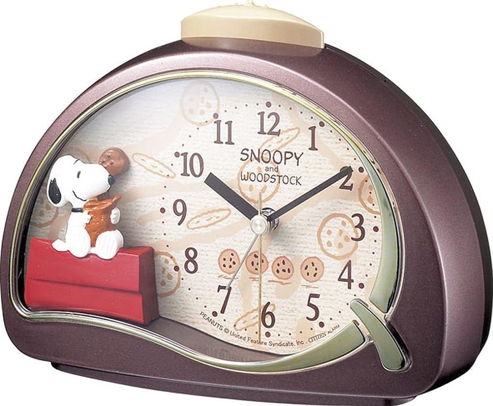 シットコム紳士気取りの、きざな罹患率SNOOPY (スヌーピー) 目覚まし時計 キャラクター アナログ R506 電子音 アラーム 茶 リズム時計 4SE506MJ09