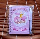 Recuerdos, Regalos y Detalles Originales Para Invitados Bautizo y Baby Shower Niña - Pack 30 Libretas para Bautizos niña con Mini Bolígrafo - ¡Tus Familiares y Amigos Alucinarán!