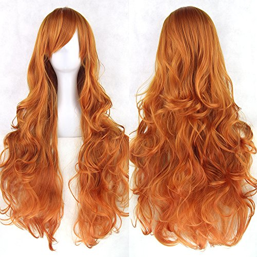 S-SSOY 31' Women's Long Curly Cosplay Synthetic Wigs Halloween Anime Costume Fashion Daily Party Spiral/Wave/Wavy Full Hair Hairpieces for Girl Women +Wig Cap, Orange