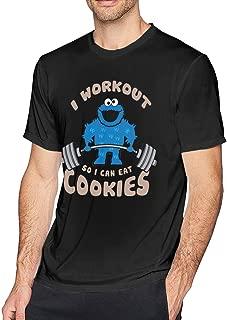 Houxiaojun I Workout So I Can Eat Cookies Men's Classic Sports Short Sleeve T-Shirt Black