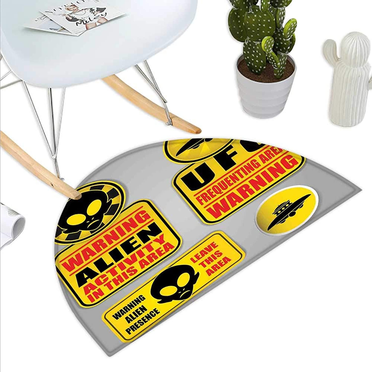 Outer Space Semicircle Doormat Warning Alien UFO Sign Face of Martian Creature Danger Horror Theme Print Halfmoon doormats H 47.2  xD 70.8  Black Yellow