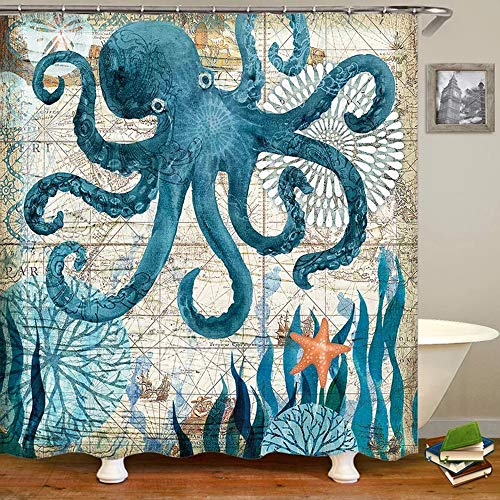 Uphome Octopus Stoff Duschvorhang, nautische blaue Landkarte Duschvorhang Navigation unter dem Meer Leben Küste Tuch Duschvorhang schwer beschwert, Badezimmer Strand Dekorationen, 72x72