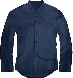 スワンユニオン swanunion メンズ Yシャツ 襟なし バンドカラー 長袖 シャツ 無地 ネイビー 紺f143-men