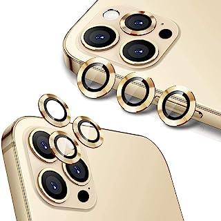 واقيات لاصقة لعدسة كاميرا هاتف ايفون 12 برو 6.1 انش مصنوعة من الزجاج المقسى الممتاز HD وخليط الالومنيوم من هويلونغ، ذهبي